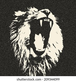The head of yawning lion, isolated on black background. The King of beasts shows his huge fangs. Great for user pic, icon, label or tattoo. Amazing illustration in grunge style. Horoscope symbol.