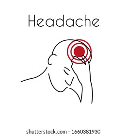 Headache linear icon. Abstract minimal illustration of young man with red spot on his head suffers from headache. Design template for medicine or therapy for headache