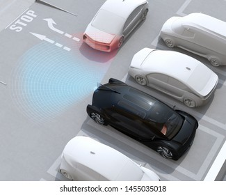 Head-in parking black car emergency stopped when the rear sensor detected van closing to the car. Advanced driver assistance system concept. 3D rendering image.