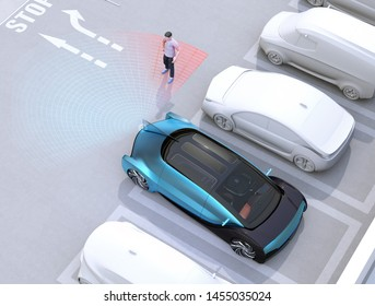 Head-in parking black car emergency stopped when the rear sensor detected pedestrian near the car. Advanced driver assistance system concept. 3D rendering image.