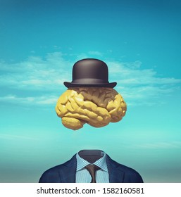 Headless business suit with a brain and a hat above. This is a 3d render illustration.