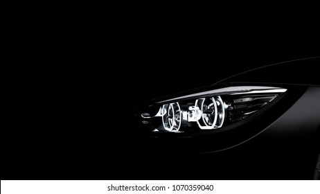 headlights of black sports car on black background, photorealistic 3d render, generic design, non-branded