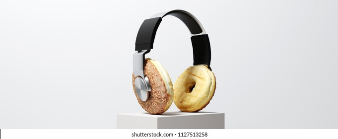 Headphone with donut earcups on a pedestal as a concept for nutrition, music and culture (3d rendering)