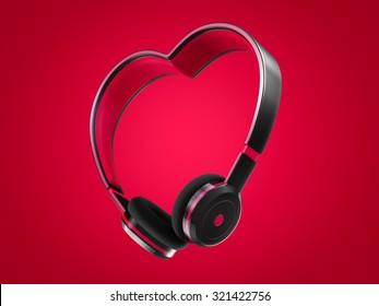 headphone heart shape love music