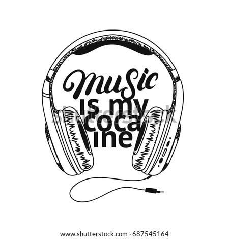 Headphone Tee Print Music My Cocaine Stock Illustration