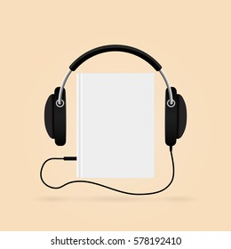 Headphones with books. Audio-book concept. Modern techology.