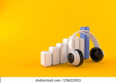 Headphones with chart isolated on orange background. 3d illustration