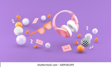 Headphones and glasses float between the balls on the purple background 3d render.