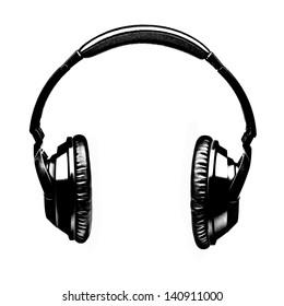 Headphones Illustration in Black and White