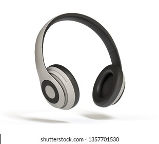 Headphones Isolated on White Background 3d rendering. Listen to music