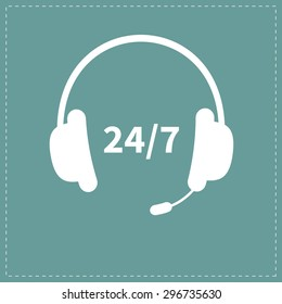 Headphones with microphone Non stop 24 7 customer service Support operator help icon Flat design