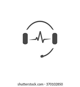 Headphones with microphone and sound waves beats, concept of radio station logo, dj disco symbol, broadcasting studio label, customer support emblem flat back icon, modern design illustration image