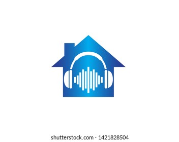 Headphones with music beats, Headset Logo design illustration in a house shape home icon