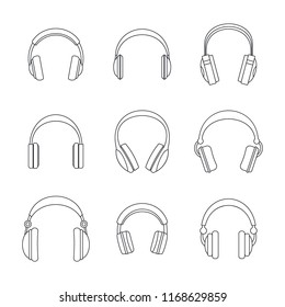 Headphones music listen speakers headset icons set. Outline illustration of 9 headphones music listen speakers headset icons for web