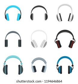 Headphones music listen speakers headset icons set. Flat illustration of 9 headphones music listen speakers headset icons for web