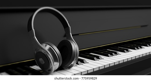 Headphones on a black piano keyboard. 3d illustration