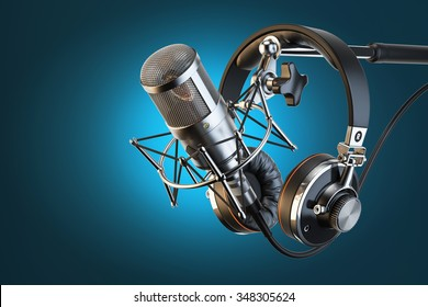 Headphones on microphone stand, professional studio