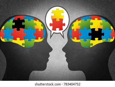 Heads with puzzle