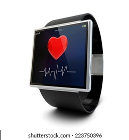 health app on a smartwatch screen, isolated on white background