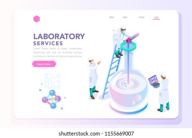 Health and biochemistry laboratory of nanotechnology. Molecule helix of dna, genome or gene evolution. Beauty science genome clone sequence concept with characters. Flat isometric illustration.