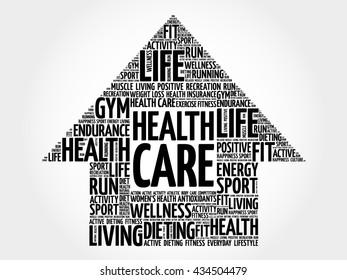 Health care arrrow word cloud, health concept