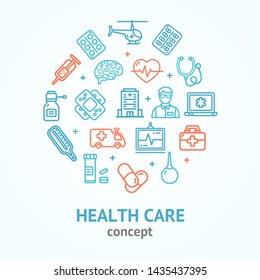 Health Care Color Round Design Template Line Icon Diagnostic, Equipment and Help Concept Include of Thermometer and Hospital. illustration