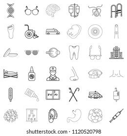 Health care provider icons set. Outline set of 36 health care provider icons for web isolated on white background