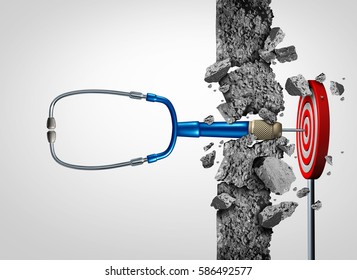 Health care success medical research breakthrough and medicine discovery as a doctor stethoscope shaped as a stethoscope breaking a wall to a target as a cure metaphor with 3D illustration elements.