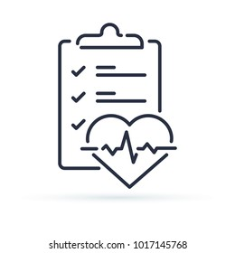 Health check up checklist for cardiovascular disease prevention test. Heart diagnostic electrocardiography service, undergo ecg procedure for medical clipboard. Hypertension risk line icon