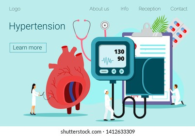 Health concept of hypotension and hypertension disease. High Cholesterol Blood Pressure and Atherosclerosis illustration, it is landing page, website, app, banner.