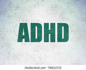 Health concept: Painted green word ADHD on Digital Data Paper background