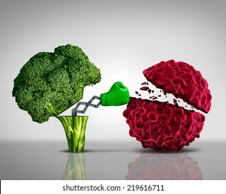 Health food and Cancer fighting foods nutrition concept with a green boxing glove emerging out of an open broccoli vegetable as a health care metaphor for a healthy lifestyle diet.