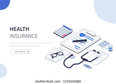 Health insurance concept. Can use for web banner, infographics, hero images.  Flat isometric illustration isolated on white background.