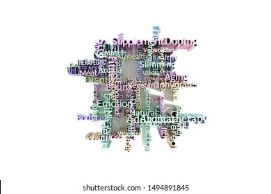 Health or lifestyle keyword words cloud. For web page or design, graphic resource, texture background. 3D rendering.