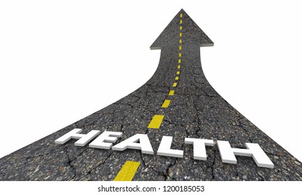 Health Lifestyle Positive Good Life Road Arrow 3d Illustration