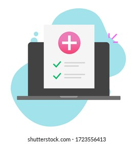 Health medical document check up list online on laptop computer or pc internet digital paper sheet checklist with test results info flat icon, insurance or healthcare report concept image