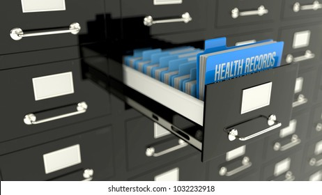 Health records folder with patients files, medical treatment history, archives.  3D illustration