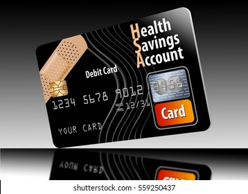 Health Savings Account debit card isolated on a white background.
