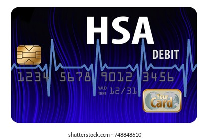 Health Savings Account (HSA) debit card isolated on a white background