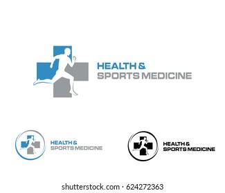 Health and sports medicine logo illustration