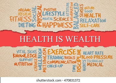 Health is wealth with health word clouds, health conceptual
