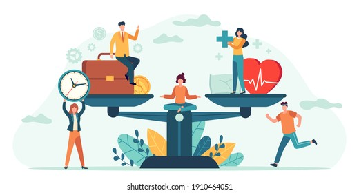 Health and work on scales. People balance job, money and sleep. Comparison business stress and healthy life. Tiny employees  concept. Measurement equality health and work illustration
