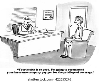 Healthcare cartoon about a doctor telling a patient she is very healthy.
