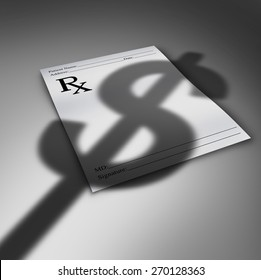 Healthcare cost crisis or health care bills concept as a doctor prescription paper with the cast shadow of a dollar sign as a medical finances symbol and the price for medicine and therapy services.