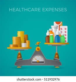 Healthcare expenses with balance scales bitmap concept in flat style