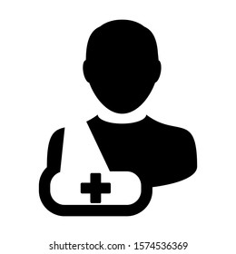 Healthcare icon of male person profile avatar symbol for injury medical treatment for patient in flat color glyph pictogram illustration