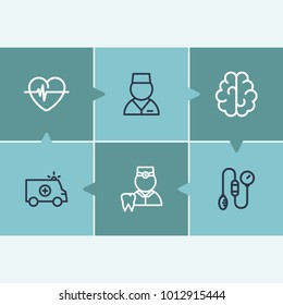 Healthcare icon set and brain with sanitary, emergency and dentist. Tonometer related healthcare icon  items for web UI logo design.