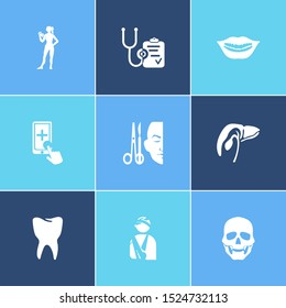 Healthcare icon set and diagnostic with scull, gallbladder and tooth. Cystic related healthcare icon for web UI logo design.