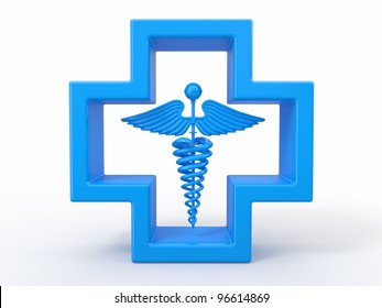 Healthcare and medical symbol. Caduseus in cross. 3d