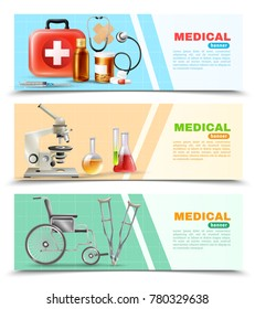 Healthcare online 3 medical horizontal banners set with lab electronic microscope wheelchair and crutches isolated  background  illustration